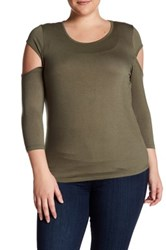 14Th And Union 3 4 Length Sleeve Cutout Shirt Plus Size Green