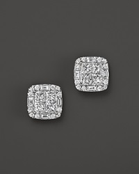 Bloomingdale's Diamond Princess Cut Stud Earrings In 14K White Gold 1.50 Ct. T.W.