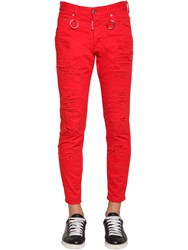 Dsquared 15Cm Skinny Dan Cotton Denim Jeans Red
