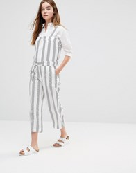 Shades Of Grey Striped Utility Jumpsuit White
