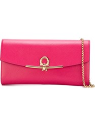 Salvatore Ferragamo Gancio Flap Clutch Pink And Purple