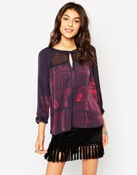 Gypsy 05 Silk Mix 3 4 Sleeve Blouse With Brushstroke Print Black