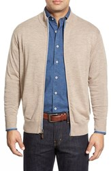 Men's Peter Millar Tipped Merino Wool Zip Front Cardigan