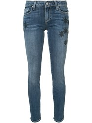 Paige Skyline Ankle Embroidered Jeans Blue