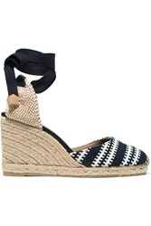 Castaner Carina Woven Canvas Wedge Espadrilles Midnight Blue