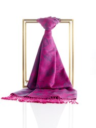Shanghai Tang Two Tone Lucky Charms Pashmina Shawl With Tassel Dark Fuchsia