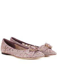 Dolce And Gabbana Embellished Lace Ballerinas Purple