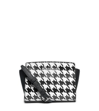 Michael Kors Selma Houndstooth Saffiano Leather Mini Messenger Black White