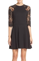 Women's Bb Dakota 'Yale' Lace Panel Fit And Flare Dress Black