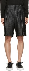 Givenchy Black Perforated Leather Shorts