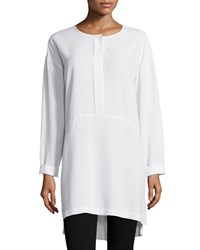 Go Silk Long Sleeve High Low Silk Tunic Women's Ivory