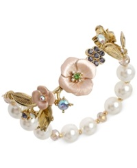 Betsey Johnson Gold Tone Flower And Faux Pearl Half Stretch Bracelet