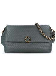 Agnona Embossed Flap Shoulder Bag Grey