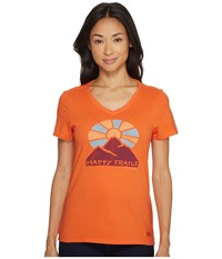 Life Is Good Happy Trails Mountain Crusher Vee Tropical Orange Women's Clothing Black