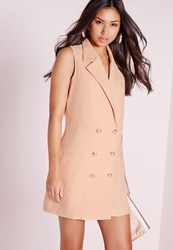Missguided Tuxedo Wrap Dress Nude Beige