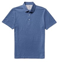 Brunello Cucinelli Slim Fit Cotton Pique Polo Shirt Blue