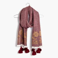 Madewell Embroidered Textile Scarf Cabernet
