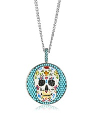 Azhar Calavera Skull Charm Rhodium Plated Sterling Silver Pendant Necklace