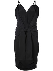 Vera Wang Long Draped Waist Tied Top Black