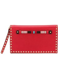 Valentino Garavani 'Rockstud' Beaded Clutch Red