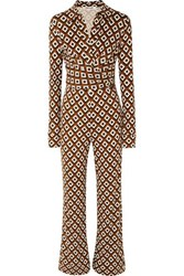Diane Von Furstenberg Wrap Effect Printed Silk Jersey Jumpsuit Brown
