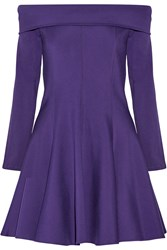 Halston Off The Shoulder Stretch Jersey Dress Purple