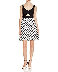 Aqua Cutout Chevron Dress Black White