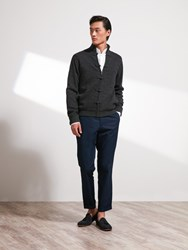 Shanghai Tang Wool Cashmere Lattice Cardigan With Silk Lining Charcoal
