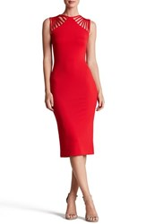Women's Dress The Population 'Gwen' Knit Midi Dress Cherry