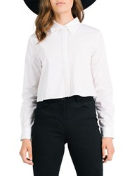 Kendall Kylie Split Back Button Front Shirt White