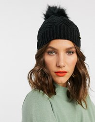 River Island Knitted Beanie Hat With Faux Fur Pom Pom In Black