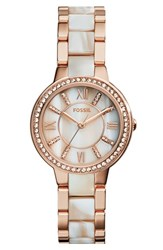 Women's Fossil 'Virginia' Resin Link Crystal Bezel Bracelet Watch 30Mm Horn Rose Gold