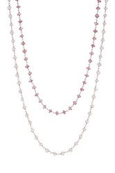 Sterling Silver Pink Sapphire And Moonstone Double Strand Necklace