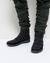 Asos High Top Sneaker Boots In Black With Extended Laces Black