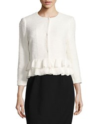 Ivanka Trump Ruffled Tweed Jacket Ivory