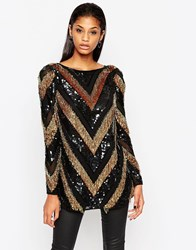 Asos Long Sleeve Sequin Chevron Tunic Multi