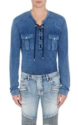 Balmain Men's Lace Up Long Sleeve Shirt Blue