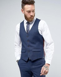 Harry Brown Heritage Slim Fit Donegal Waistcoat Blue