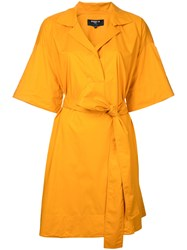 Paule Ka Short Woven Wrap Dress Women Cotton Spandex Elastane 36 Yellow Orange