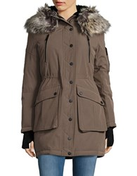 Bcbgeneration Sherpa Lined And Faux Fur Trimmed Hooded Parka Truffle