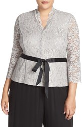 Alex Evenings Plus Size Women's Glitter Detail Lace V Neck Blouse Grey