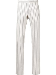 Andrea Pompilio Striped Skinny Trousers Men Cotton Viscose 46 Nude Neutrals