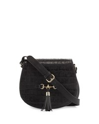 Neiman Marcus Asha Crocodile Embossed Saddle Bag Black