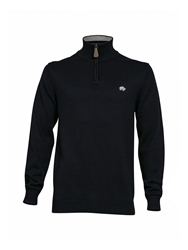 Big And Tall Knitted Quarter Zip Neck Hoodie Navy