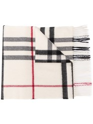 Burberry Giant Check Cashmere Scarf White