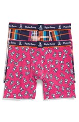 Psycho Bunny Men's 2 Pack Boxer Briefs Madras Plaid Whipple Bunny
