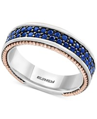 Effy Men's Sapphire Band 1 1 2 Ct. T.W. In Sterling Silver 18K Rose Gold And Black Rhodium Two Tone