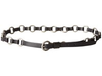 Frye 13Mm Leather And Metal Ring Belt On Logo Harness Buckle Black Antique Nickel Women's Belts