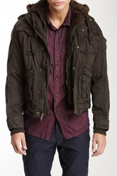 Rogue Faux Fur Military Jacket Brown