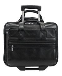 Kenneth Cole Reaction Manhattan Leather Rolling Laptop Briefcase Black
